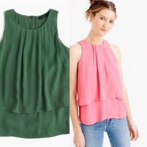 J. Crew tiered crepe green tank top
